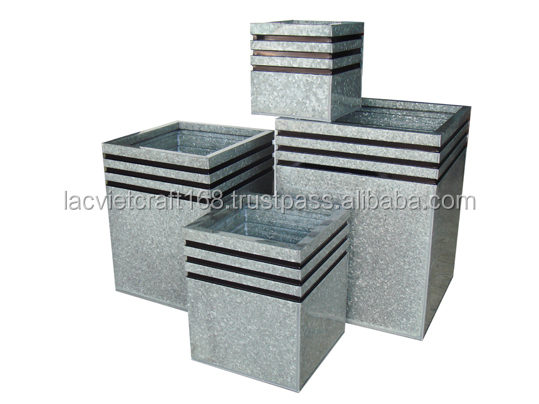 High quality best selling eco friendly Zinc flower vase, square shape from Viet Nam
