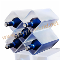new desktop Acrylic wine bottle display stand Clear Plastic Wine Rack