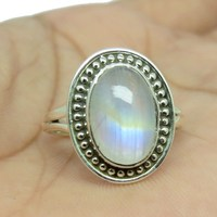 Natural White Oval Rainbow Moonstone 925 Sterling Silver Rings, Sterling Silver Jewelry, Silver Jewelry Wholesaler