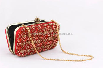 a00331bc5bc1a Bridal Handbag Wedding Evening Party Luxury Beaded Diamond Beads Indian Box  Metallic Clutch Embroidery Heavy Clutches Purse Bag - Buy Indian Box ...