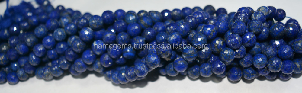 "LAPIS LAZULI 7-10MM ROUND BALL FACETED 8"" STRAND"
