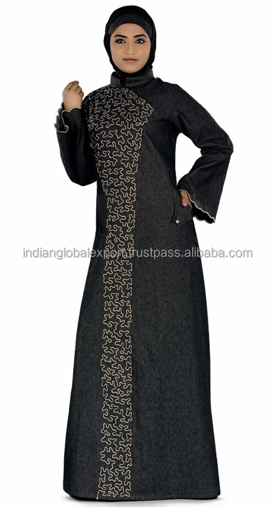 Black color Designer Abaya-Denim Abaya/ Burqa