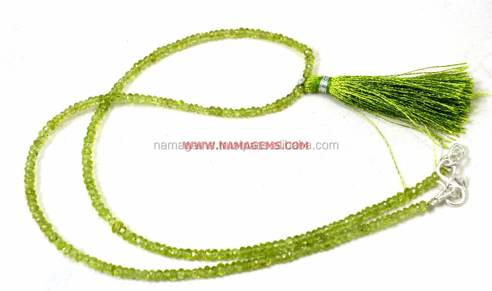 Tassel Green Peridot Gemstone Fine Quality Roundel Beads 18 Inches