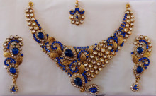 BLUE IMITATION BRIDAL JEWELRY-WHOLESALE NEW FASHION IMITATION JEWELRY-2015 PARTY WEAR NECKLACE SETS