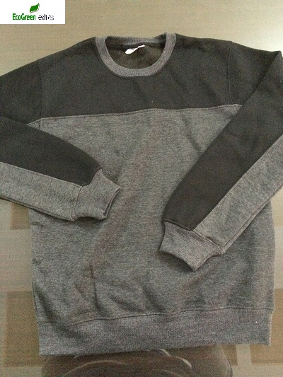 Crew Neck Plaid Sweatshirt Grey & Black