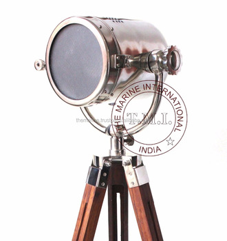 Chrome Finish Nautical Floor Standing Searchlight with Tripod Stand ~ Collectible Marine Floor Lamp