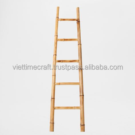 Bathroom bamboo ladder tower rack