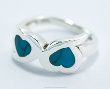 925 Silver Jewelry Rings Turquoise Heart Thailand Wholesale