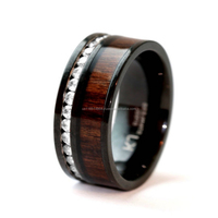 NATURAL KOA WOOD BLACK STAINLESS STEEL CUBIC ZIRCONIUM WEDDING BAND RING DURABLE 8MM #KJS1