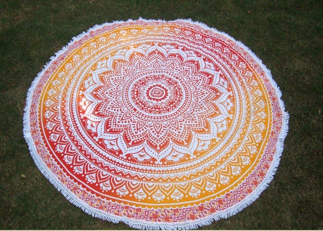 Indian Mandala Roundie Boho Gypsy Hippie Round Beach Throw Towel Blanket