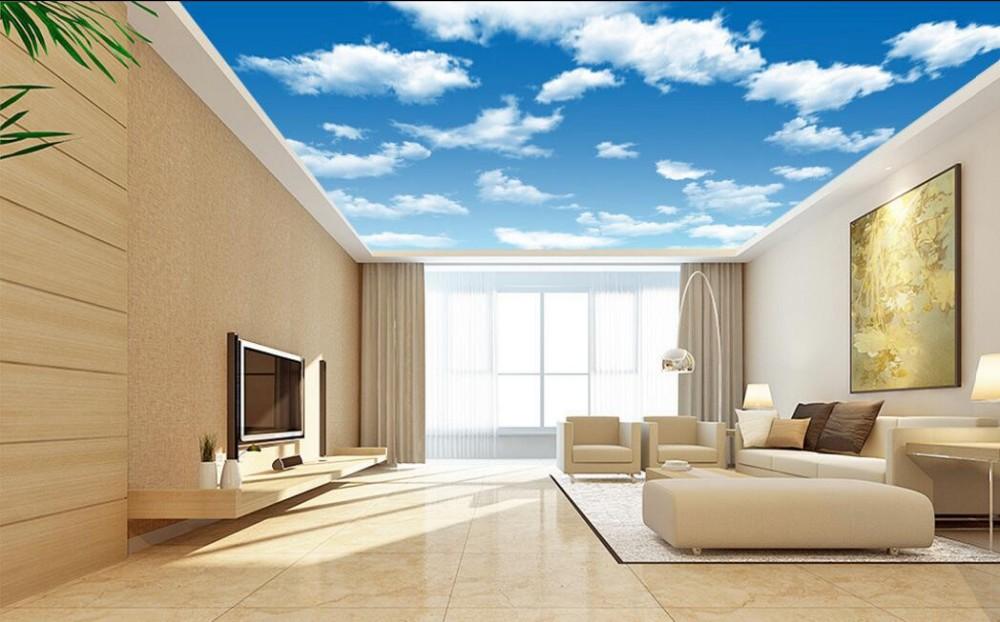 ciel nuage papier peint au plafond pvc 3d effet plafond murale vinyle fonds d 39 cran papiers. Black Bedroom Furniture Sets. Home Design Ideas