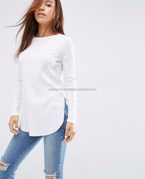 5f50eb61 imports women's clothing cheap bulk loose fit long sleeve draped asymmetric  long tail cotton t shirt