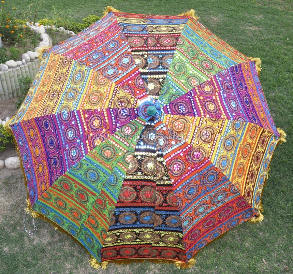 Indian Handmade Outdoor Garden Parasols  Embroidery Multicolor Large Umbrellas