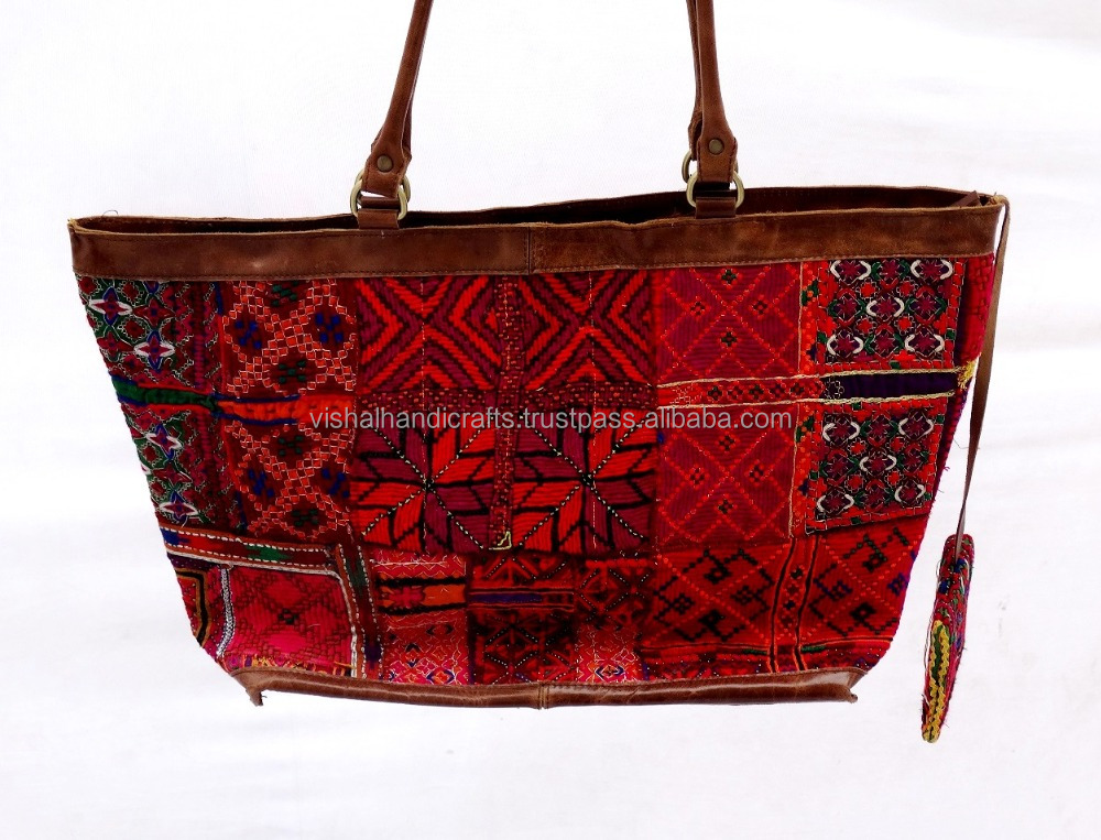Banjara hand bags handmade tote bags with pure leather strip online sale best October offer