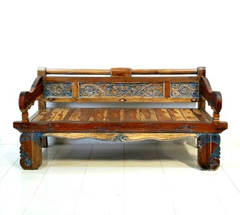 ANTIQUE TEAK BENCH Antique Wooden Bench O43