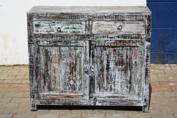 OLD COLORED WOODEN BUFFET SIDEBOARD