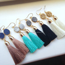 Boho style fashion women druzy stone tassel earrings in high quality