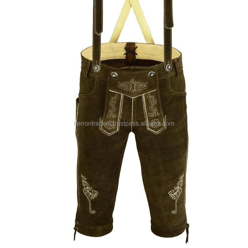 Chocolate Brown Long Men Knee Long Lederhosen For Traditional Oktoberfest / Traditional Bavarian lederhosen