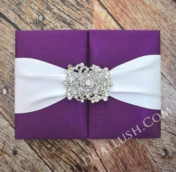 Silk Wedding Invitation Folio Purple Luxury