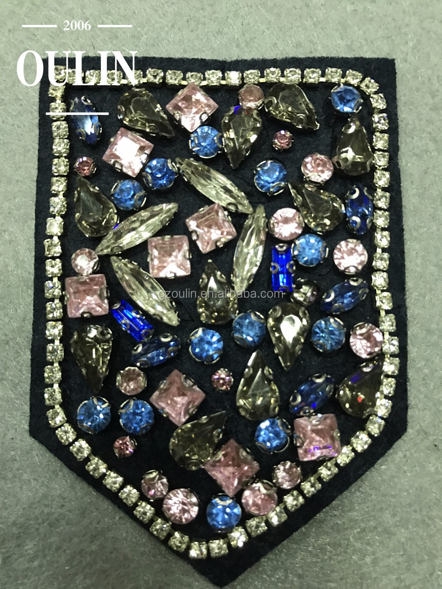 Embroidered patches badges New model badges with rhinestone chains and color rhinestones