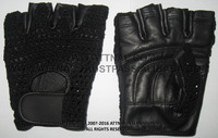 Fitness Gym Gloves Combination of Real Leather and Cotton Mesh Multi Color Fabric