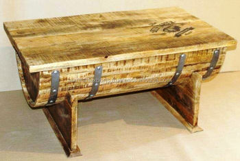 Wooden Barrel Style Coffee Table With Trunk Box