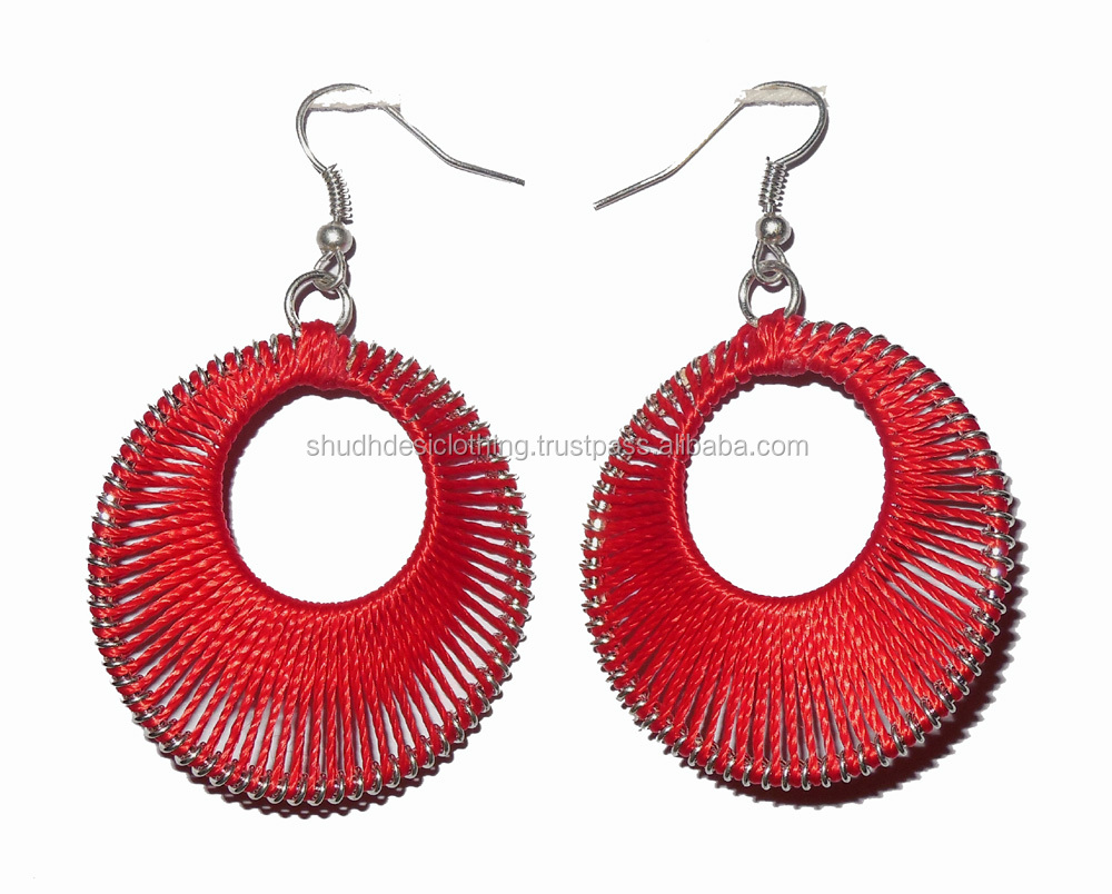 products ruffles red es product peacock fashion aeravida details handmade statement thread earrings silk