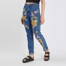 Women Jeans harem painters embroidered floral blue cutting of ladies trousers