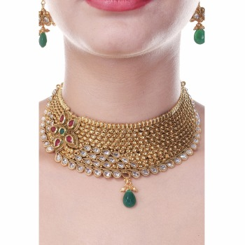 Royal Choker South Indian Style One Gram Gold Plated Wedding Jewellery Set