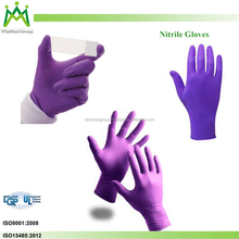 Non-Sterile Disposable Nitrile Gloves / Purple color powder free nitrile examination gloves
