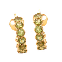 Natural Peridot Round Faceted Indian fashion earrings green stone earrings jewellery