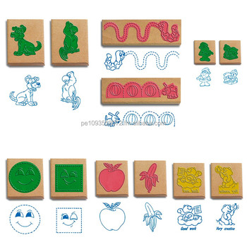 Rubber Wooden Stamps For Kid Of Alphabet Animals Fruits Numbers Math