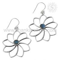 Newest Flower Shape Labradorite Earring Wholesale Indian Silver Jewelry 925 Silver Earring Exporter