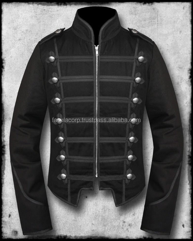 Gothic Men's Handmade Black Military Marching Band Drummer Jacket New Style FC-2937