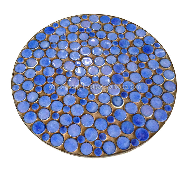 [wholesale Mosaic table top patio furniture - Terracotta Mosaic outdoor dining set - Oval / round / square - Pebble