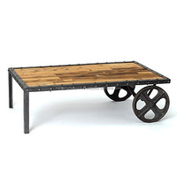 INDUSTRIAL & VINTAGE IRON/WOODEN CART COFFEE TABLE WITH WHEEL