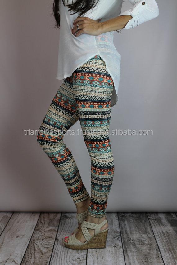 1ee09e87c5c979 Aqua/Orange Aztec Print Leggings, Adult legging, girls leggings, toddler  legging, baby legging, aztec legging