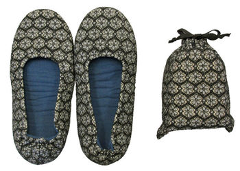 Pretty And Compact Foldable Slippers With A Pouch For Carrying Convenience Ordinary Bottle Also