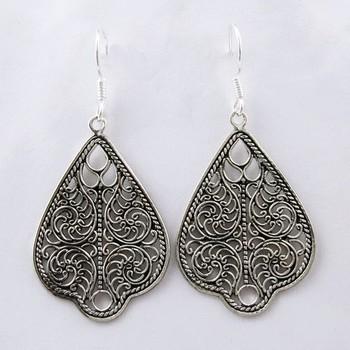 Oxidized Plain Silver 925 Sterling Earring Jewellery