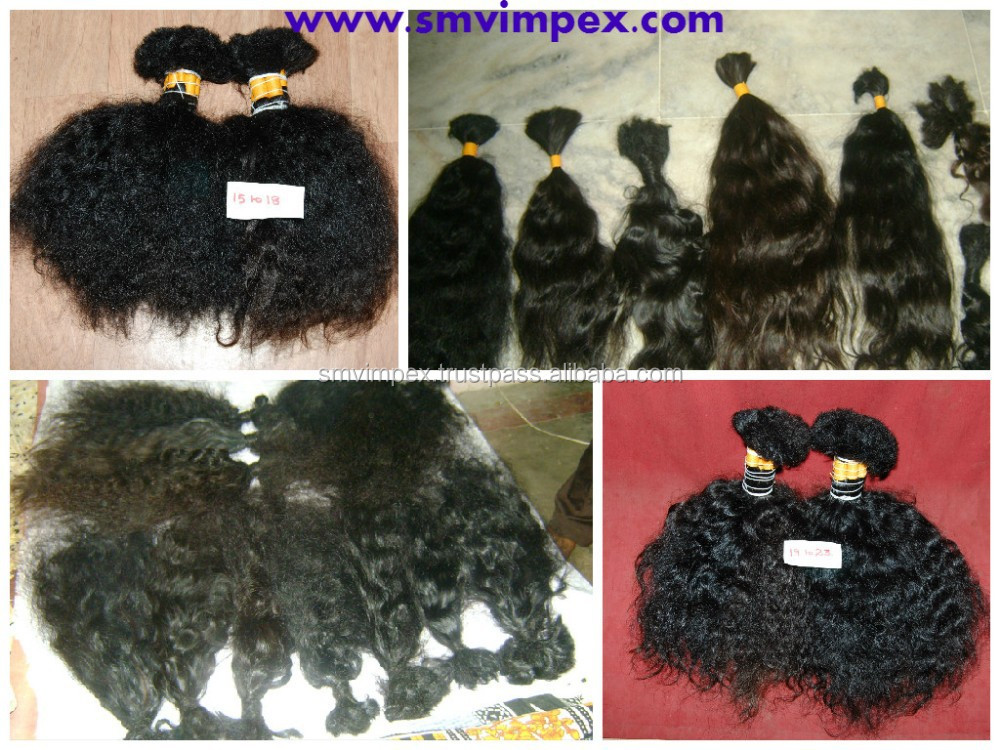 Raw 100% unprocess natural indian wave bulk human hair. silky and natural process hair only .strong and healthy hairs from india