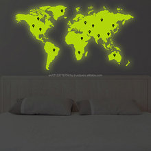 Glowing Vinyl Wall Decal World Map with Google Dots Earth Atlas Shiluette Art Decor Sticker