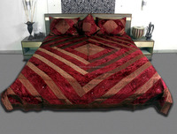 Jaipuri Velvet Satin silk Bed cover Brocade Floral Double Bedcover Red/Gold Color