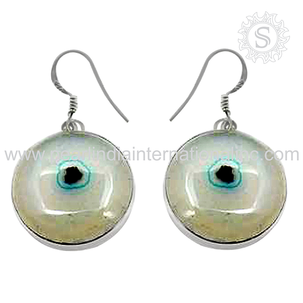 Bewitching Moon Solar Fossil Earring 925 Sterling Silver Jewelry Supplier Wholesale Indian Silver Jewelry