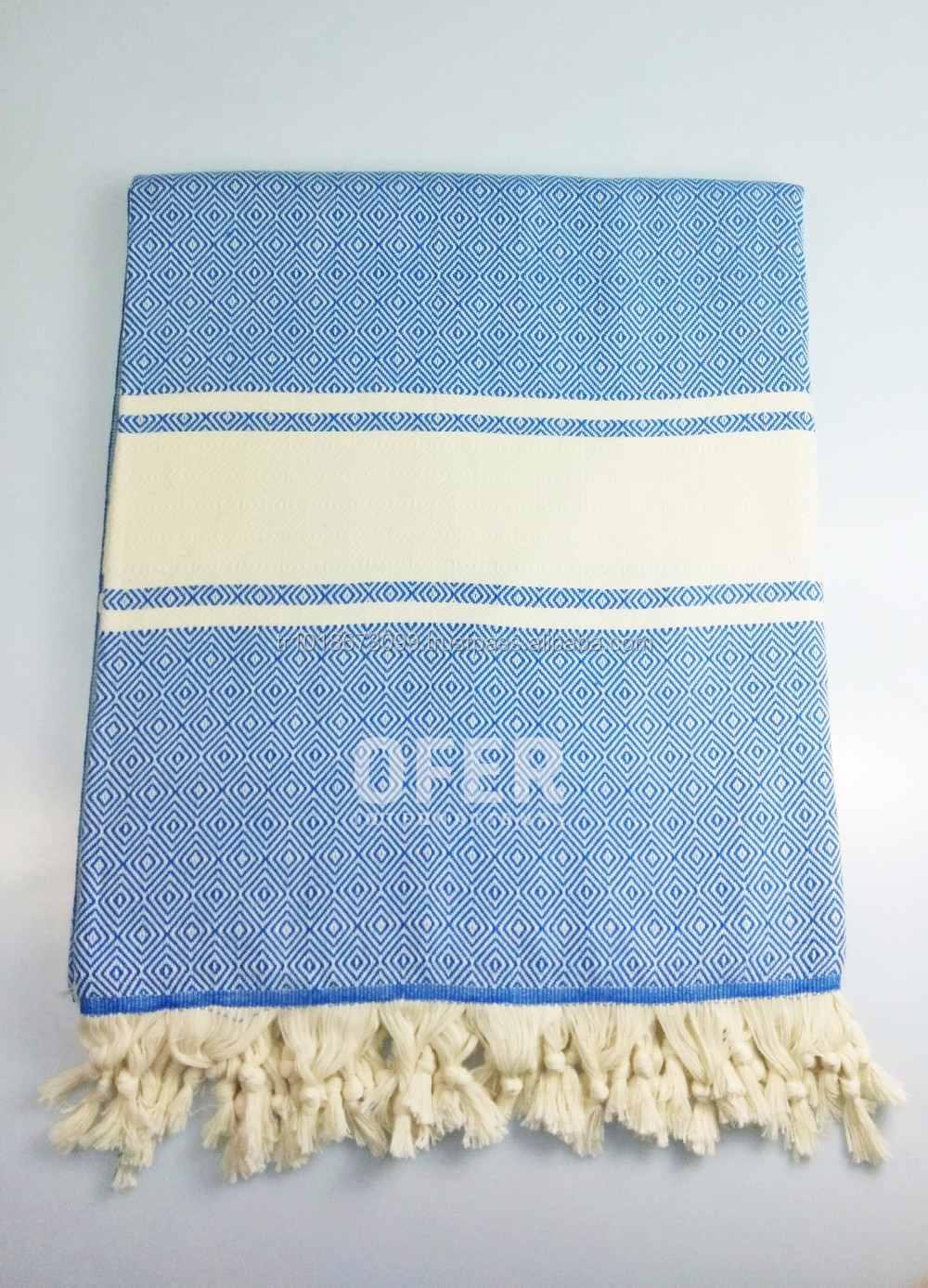 Diamond Turkish towel throw blanket, beach blanket, beach throw 100% cotton, pestemal, hammam, Blue - French Diamond