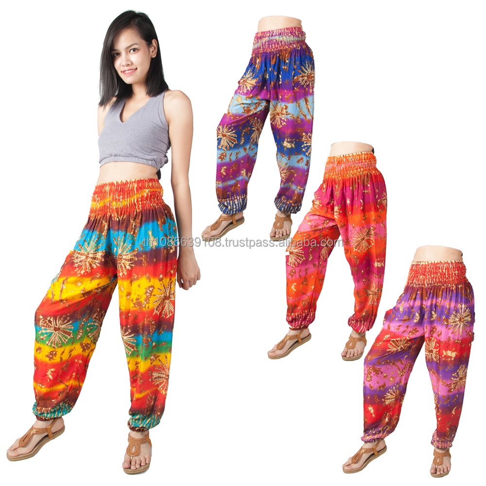 Thai Women's Aladdin Harem Trousers Yoga Baggy Hippie Boho Alibaba Hareem Pants