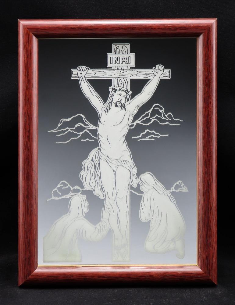 Jesus On The Cross Fine Glass Mirror Etching Typea Size 5