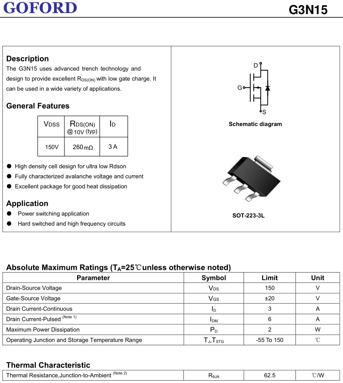 Power Mosfet 150v 3a G3n15 N-channel To-223 High Voltage Transistor - Buy  Power Mosfet,150v 3a G3n15 N-channel To-223,High Voltage Transistor Product