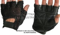 ALL BLACK Fitness and Exercise Gloves Combination of Real Leather and Cotton Mesh Fabric
