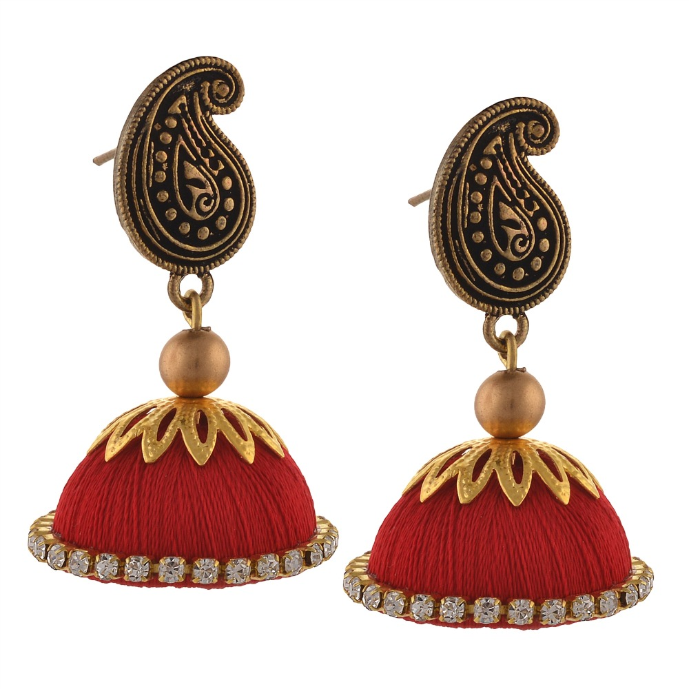 Zephyrr Fashion Handmade Ethnic Hook Jhumki Earrings with Silk Thread Zircons