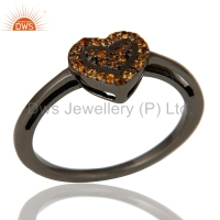 Trendy Heart Shape Design Girls Ring 925 Silver Rhodium Plated Spessartite Garnet Gemstone Designer Rings Jewelry Supplier